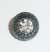 Beautiful Montana Blue Black Czech Glass Button w/ White Rhinestone 13mm - $6.49