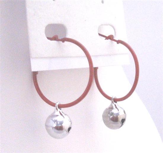Christmas Gift Brown Hoop Silver Jingle Bell Just For $1 Earrings