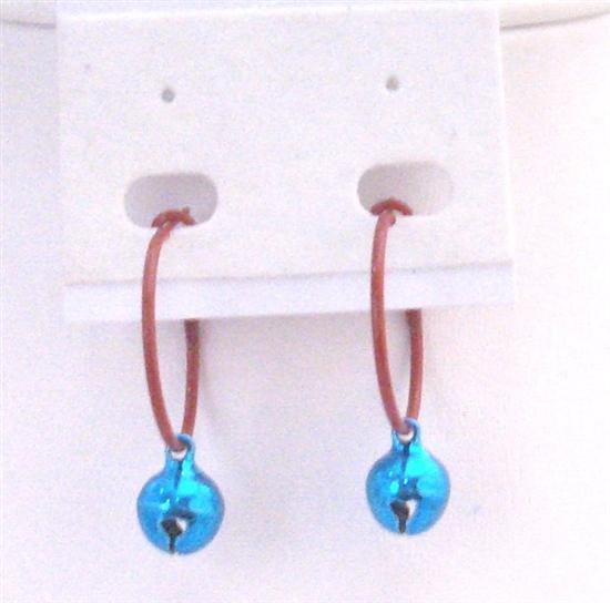 Blue Bell Dangling Hoop Earrings Very Cute Jewelry For Dollar