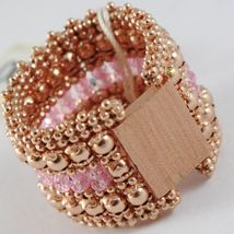 925 Silver Ring Rose Gold Plated, Top & Balls, Pink Quartz image 5