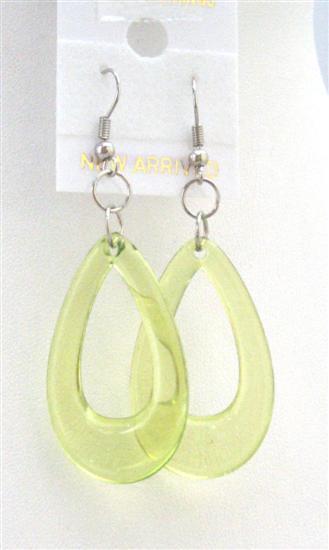 Peridot Green Glass Teardrop Dollar Earrings