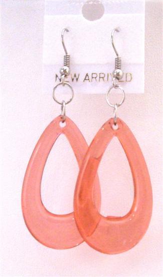 Glass Teardrop Earrings Red Teardrop Dollar Earrings