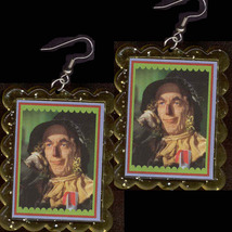 HUGE Funky Wizard of Oz SCARECROW EARRINGS Ray Bolger Brain Costume Jewelry - $6.99