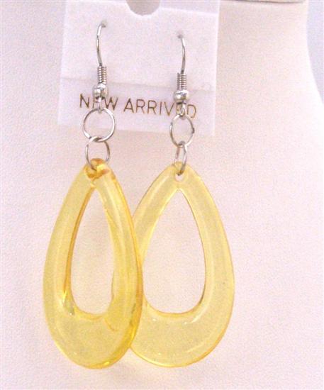 Soft Yellow Earrings Yellow Glass Teardrop Earrings Dollar Earrings