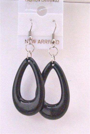 Striking Black Teardrop Bead Earrings