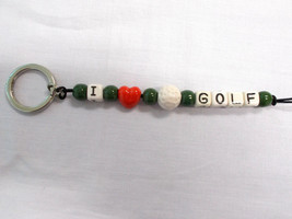 NEW GREEN BEADS & RED HEART CERAMIC BEADED GOLF BALL with I GOLF TEXT KE... - $5.99