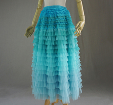 Navy Blue Tiered Tulle Skirt Layered Tulle Midi Skirt Outfit US0-US28 image 4