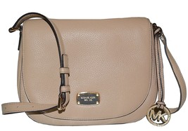 Michael Kors BEDFORD Medium Saddle Shoulder Bag Hobo Handbag Bisque Nwt ... - $180.49