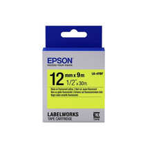12mm Black on Fluorescent Yellow - Epson LABELWORKS LK-4YBF Tape Cartrid... - $74.99