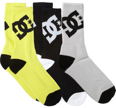 DC Shoes Apparel Big Boys' Lifted By 3 Pack Crew Yellow Black White Socks 6-8.5