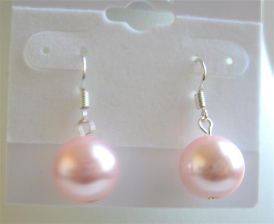 Pink Sythetic Pearls Earrings