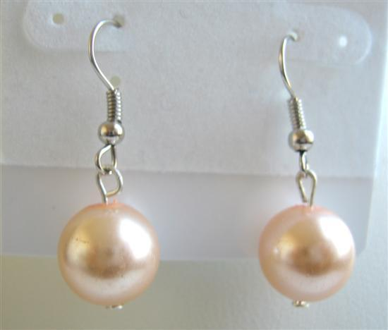 Synthetic Peach Pearls Dollar Earrings