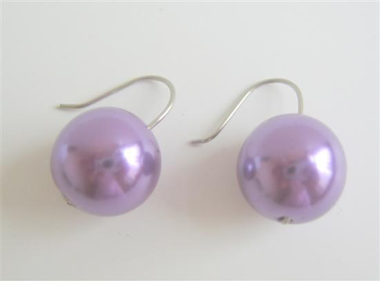 Fancy Synthetic Dark Purple Pearls Earrings