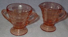 Depression Glass Pink Optic Block Cream and Sugar Set - $25.00