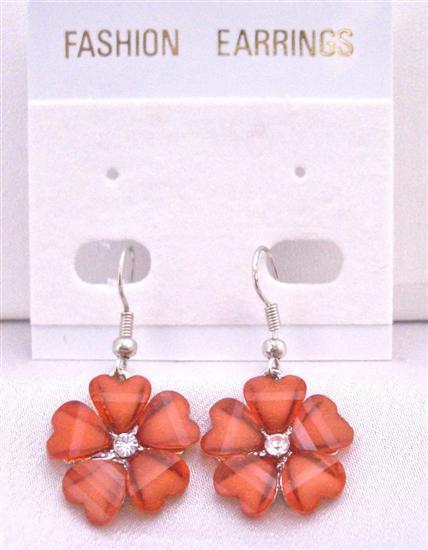 Sexy Red Flower Dollar Earrings Simulated Diamond In Center Earrings