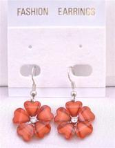 Sexy Red Flower Dollar Earrings Simulated Diamond In Center Earrings - $4.30