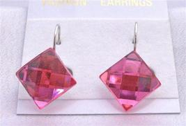 Shimmering Sexy Rose Pink Diamond Shaped Only For Dollar Earrings - $4.30
