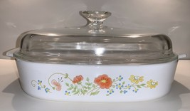 "Vintage Corning Ware 10"" x 10"" x 2"" Wildflower Casserole Dish with Lid  A-10-B - $39.57"