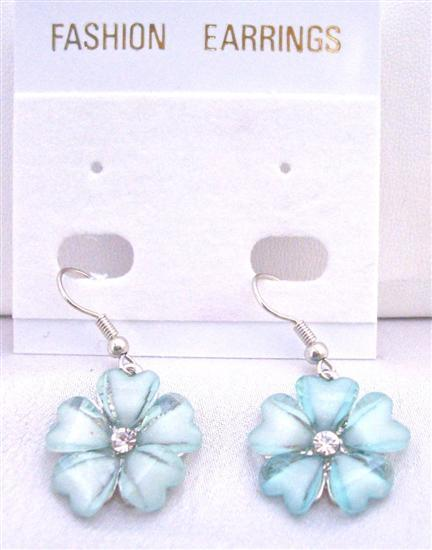 Cool Dainty Aquamarine Flower Earrings w/ Simulated Diamond Earrings