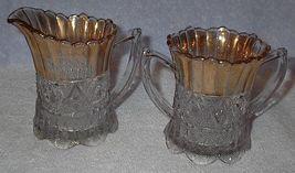Eapg Pattern Press Glass Cream and Sugar Set Gold Flashing - $39.00