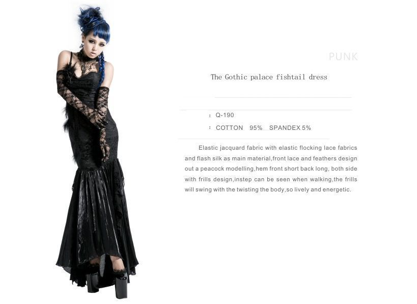 f12547b7db159 NEW Punk Rave Gothic Black Sexy Mermaid Palace Dress FAST POSTAGE