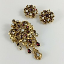 Vintage FLORENZA Earrings Pin Brooch Set Signed Gold Tone Jewelry Christmas Gift - $116.33