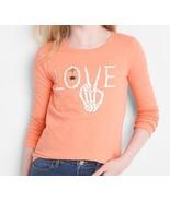 Gap Kids Girls Tee Shirt 12 14 16 Orange Long Sleeve Crew Neck LOVE Grap... - $14.95