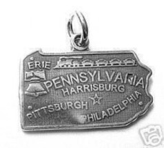 Cool Pennsylvania Philadelphia State Map Usa Sterling Silver 925 Charm Jewelry - $22.20