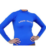 Liquid Peace Electric Blue Long Sleeve Rash Guard-Letters, Size: Small - $10.00