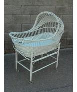 Vintage White Wicker and Rattan Baby Doll Bassinette Garden Decor - $475.00