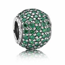 Authentic Pandora Charm Dark Green Pave Lights, Dark Green CZ Bead 79105... - $19.62