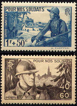 1940 For Our Soldiers Set of 2 France Postage Stamps Catalog Number B94-95 MNH