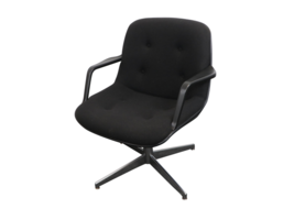 70s Mid Century Modern MCM United Chair Swivel Office Chair Recline Blac... - $296.99