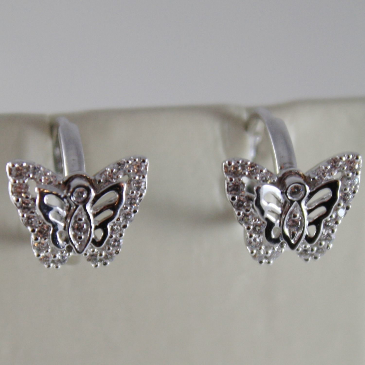 18K WHITE GOLD EARRINGS MINI BUTTERFLY & ZIRCONIA FOR KIDS CHILD MADE IN ITALY