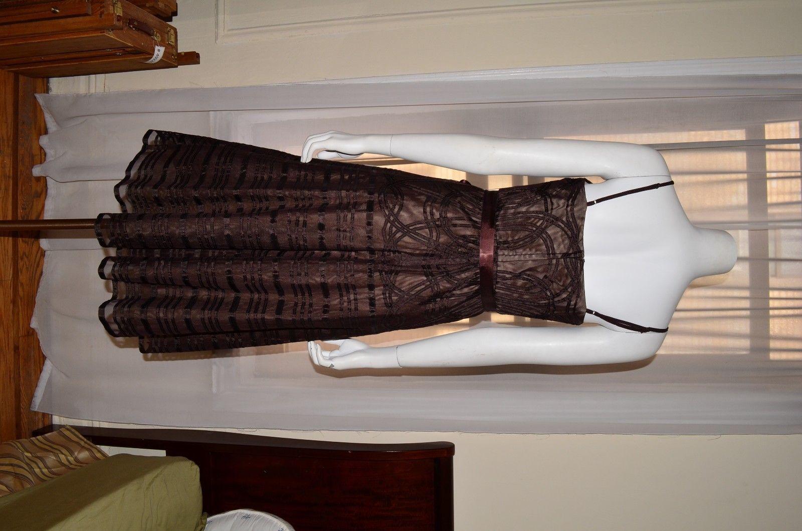 BCBG MAXAZRIA Evening Brown Cocktail Party Prom Dress Gown sz 6 Small S Max Azri