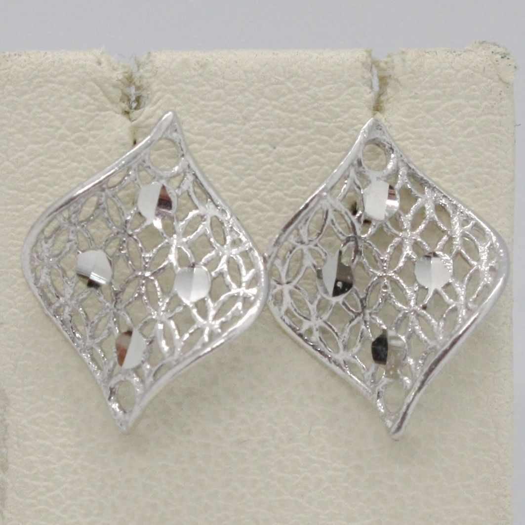 WHITE GOLD EARRINGS 750 18K LEAF VEGETABLES UNDULATED LOZENGE MADE IN ITALY