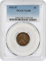 1913-S 1c PCGS VG-08 - Lincoln Cent - $29.10