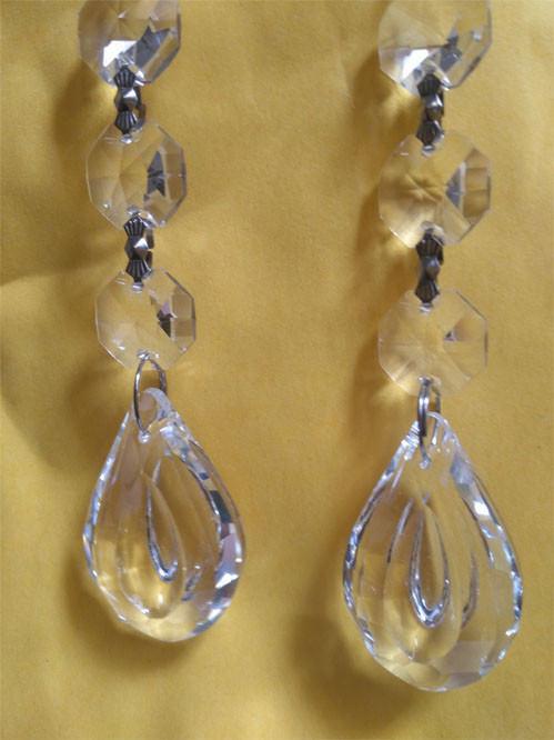 12 x Clear Crystal Baroque Leaf Chandelier Parts Prism - $13.09