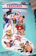 Bucilla Snowman & Animals Fox Bear Bunny Snow  Needlepoint Stocking Kit 60707 R - $149.95