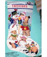 Bucilla Snowman & Animals Fox Bear Bunny Snow  Needlepoint Stocking Kit ... - $149.95