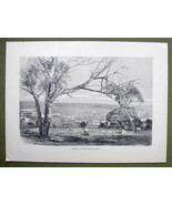 AUSTRALIA Valey of Yarra Yarra River - 1858 Antique Engraving Print - $9.57