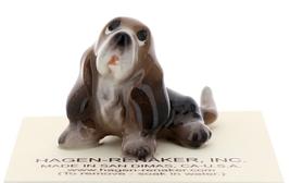 Hagen-Renaker Miniature Ceramic Dog Figurine Basset Hound Pups Sitting and Lying image 5