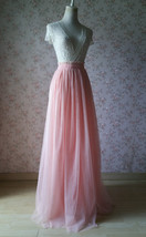 Coral Pink Tulle Skirt Bridesmaids Long Tulle Skirt High Waisted Coral Wedding image 3