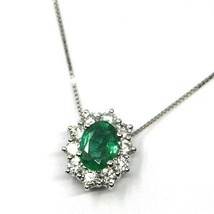 18K WHITE GOLD NECKLACE, FLOWER PENDANT, OVAL EMERALD 0.74 DIAMONDS FRAME 0.52 image 2