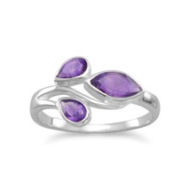 .925 Sterling Silver Pear and Marquise Amethyst Women's Ring - $35.66