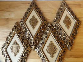 VTG MCM SYROCO Diamond Shaped COAT OF ARMS Crests Wall Hanging Plaques  - $22.72