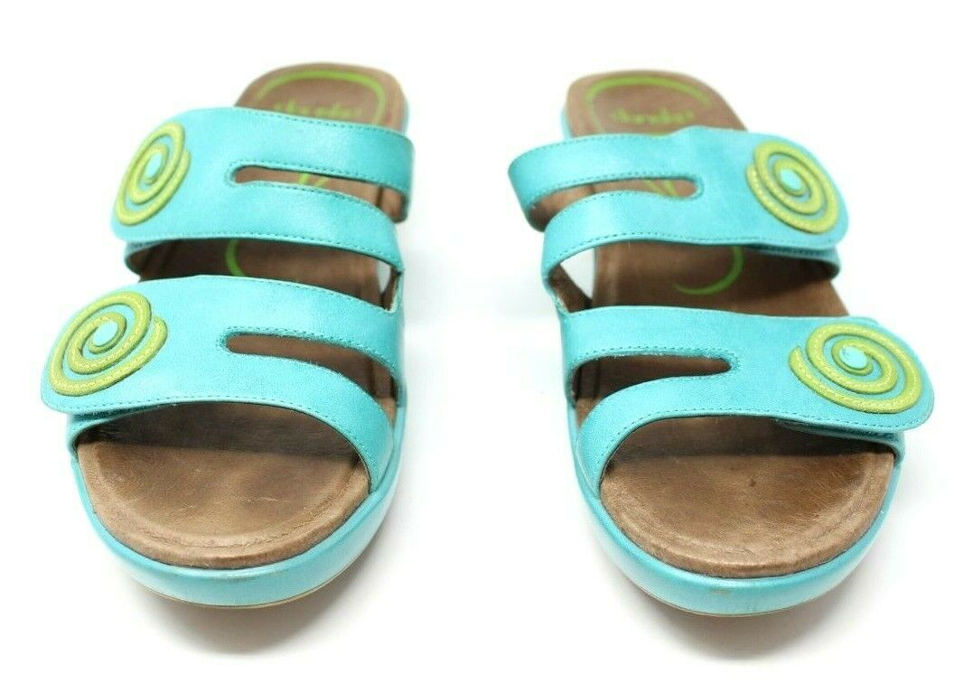 Dansko Women's 38 7.5 8 Turquoise Blue Dixie Sandals Slides Leather Artsy EUC image 2