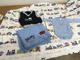 Pottery Barn Kids Trains Choo Choo Crib Sheet Valance Sweater Vest One Piece NB - $18.69