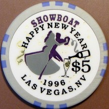 $5 Casino Chip, Showboat, Las Vegas, NV. New Year 1996. W16. - $6.50