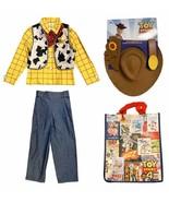 Disney Store Toy Story Boys Sheriff Woody Sz 5 6 Costume Set w/ Cowboy Hat & Bag - $64.30